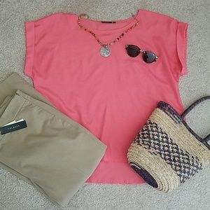 APT.9 Short Sleeves pale coral colored Top/Blouse